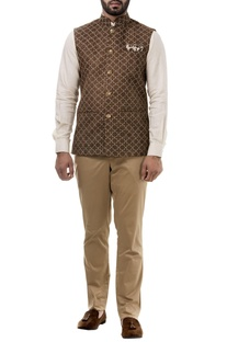Brown suede thread work nehru jacket