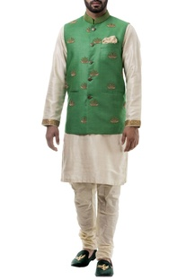 Green zari work silk nehru jacket set