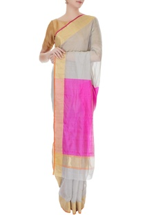 Grey handwoven pure banarasi silk saree