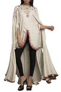 Ivory pure linen embellished tunic