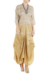 Beige linen silk tribal blouse