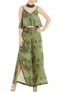 Green floral printed spaghetti top with palazzos