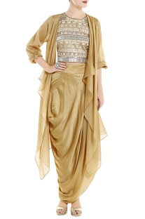 Beige fringe top with cape & dhoti skirt