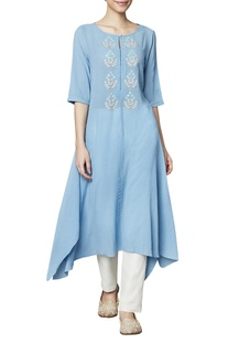 Blue cotton georgette tunic