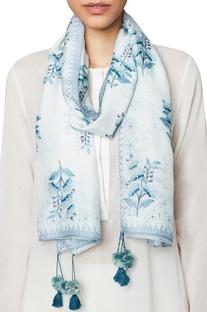 Powder blue modal silk mull mull scarf