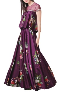 Purple modal satin & net printed lehenga set
