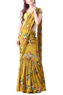 Yellow crepe printed sari with blouse