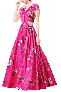 Hot pink modal satin lehenga set