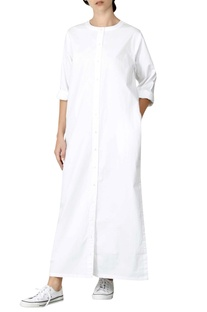White cotton poplin androgynous shirt dress
