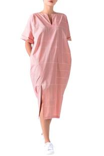 Pale pink poplin grid pattern midi dress