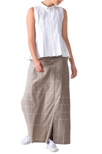 Sage green grid printed poplin pants with a front skirt layer