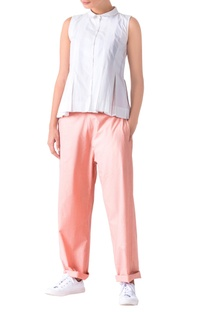 Pale pink poplin loose fit trousers