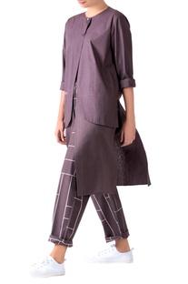 Charcoal grey poplin layered overlay tunic