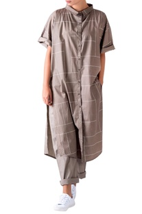 Sage green domain sleeve shirt dress
