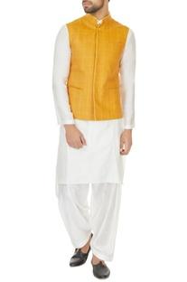 White kurta set & mustard yellow chequered bundi
