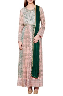 Light pink & green cotton satin & georgette block print kurta with churidar & dupatta