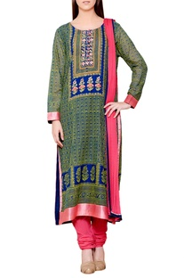 Carbon blue & yellow flat silk & chiffon block print kurta with churidar & dupatta