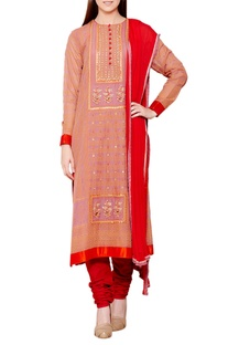 Rose pink & red flat silk & chiffon block print kurta with churidar & dupatta