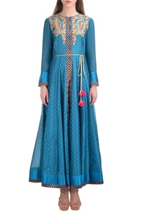 Blue chanderi booti jacquard kurta with churidar