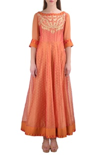 Orange chanderi booti jacquard kurta with churidar