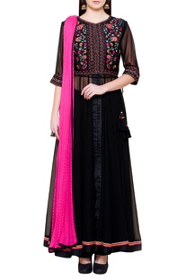 Black & pink floral embroidered kurta set