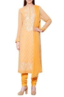 Mango yellow floral gota embroidered kurta set
