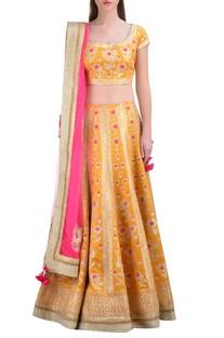 Marigold silk gota embroidered lehenga set