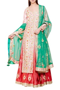 Pink gota embroidered kurta with lehenga & net dupatta