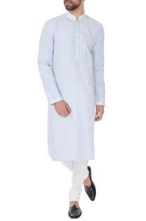 Blue linen embroidered kurta & pyjamas
