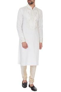 Cream linen embroidered kurta & pyjamas