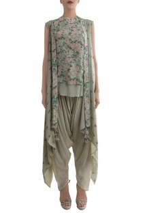 Antique jade crepe hand painted blouse & dhoti pants with cape