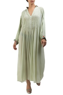 Antique jade crepe maxi dress