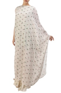 Grey crepe hand painted kaftan with cowl skirt