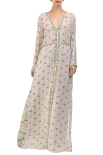 Grey crepe hand painted maxi dress