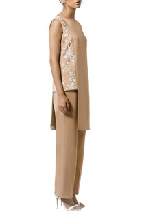 Tan layered & ivory embellished jumpsuit