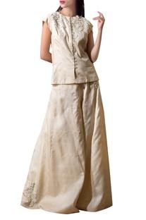 Light beige mogra tussar silk jacket with flared pants