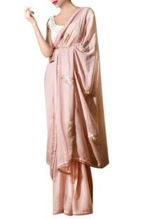 Ash pink chiffon ribbon embroidered sari with blouse
