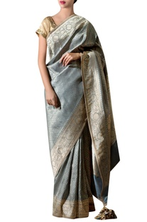 Slate grey silk sari with bunch embroidery & blouse