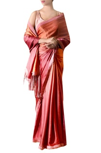 Deep pink tassel satin sari with blouse