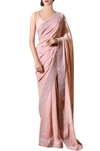 Ash pink hand-embroidered chiffon sari with blouse