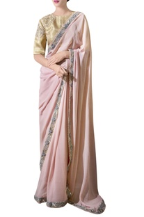 Ash pink hand-embroidered georgette sari with blouse