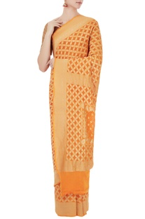 Sunrise orange georgette bandhani banarasi saree with unstitched blouse