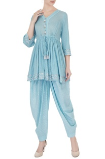 Blue pure cotton zari embroidered short kurta with salwar pants