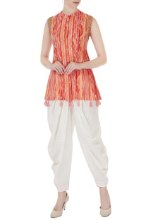 Orange pure cotton ikat printed shirt kurta with ivory patiala pants