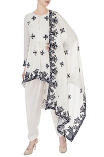 Ivory printed patchwork kurta with dhoti pants