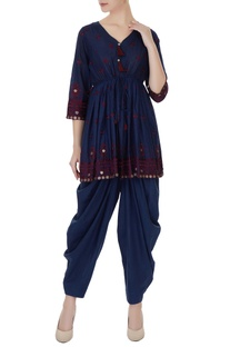Blue pure cotton coin embroidered rajasthani kurta with salwar pants