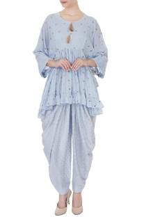 Blue rajasthani applique kurta with pants