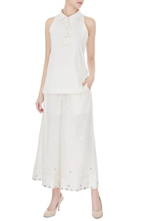 Ivory cotton halter short kurta with embroidered wide-legged pants