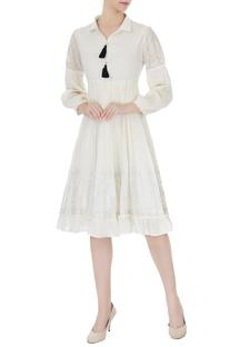 Ivory crinkled cotton tassel midi dress