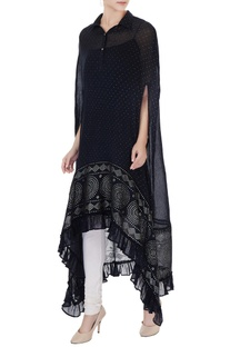 Black high-low foil printed cape with inner